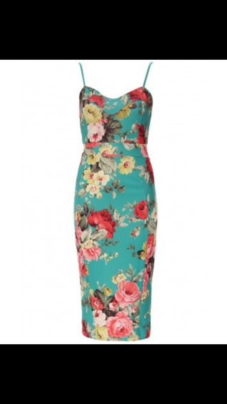 green floral bodycon strappy dress