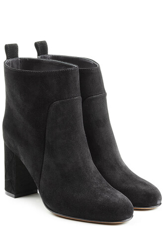 heel high heel high boots ankle boots suede black shoes