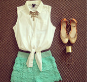 shorts,lace,summer,indie,hipster,shirt,blouse,sheer,tie blouse,collar,white,chiffon blouse,sleveeless,mint,flats,gold bracelet,cuff bracelet,spring outfits,shoes,short,sleeveless,jewels,jeans,bleu turquoise,dentelle,clothes,white shirt blouse crop top,turquoise,super cute,top,cute,mint shorts,summer outfits,frill,girl,fashion