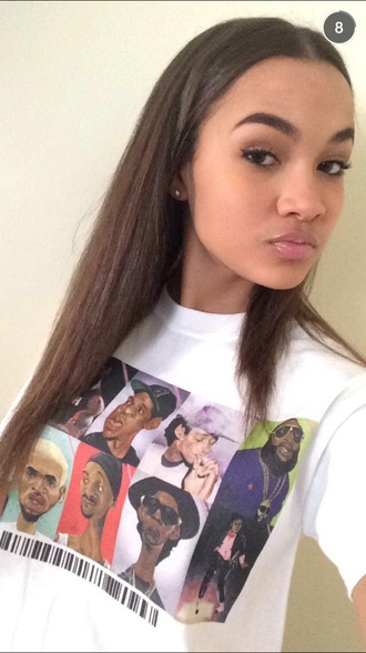 brunette snoop dogg chris brown jay z wiz khalifa rick ross michael jackson white t-shirt