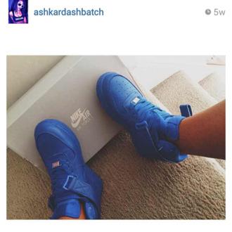 shoes nike blue nike air force 1 high tops ashkardashbatch royal blue sneakers nike shoes blue sneakers high top sneakers af1 forces nike sneakers uptowns nike air force royal blue