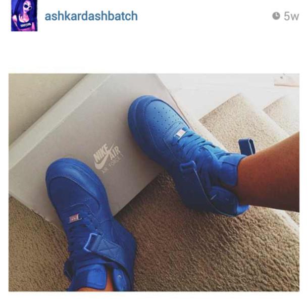 6ad17bf0a9f shoes nike blue nike air force 1 high tops ashkardashbatch royal blue  sneakers nike shoes nike