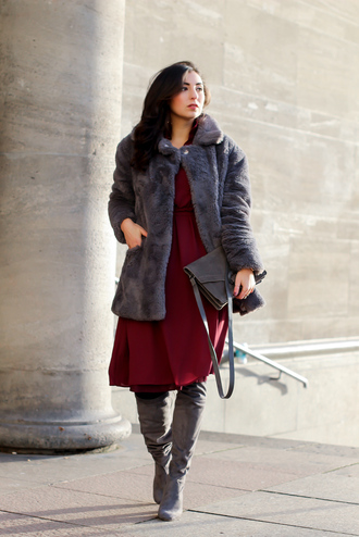 samieze blogger shirt dress coat jewels sunglasses winter outfits fur coat grey boots red dress grey bag shoulder bag