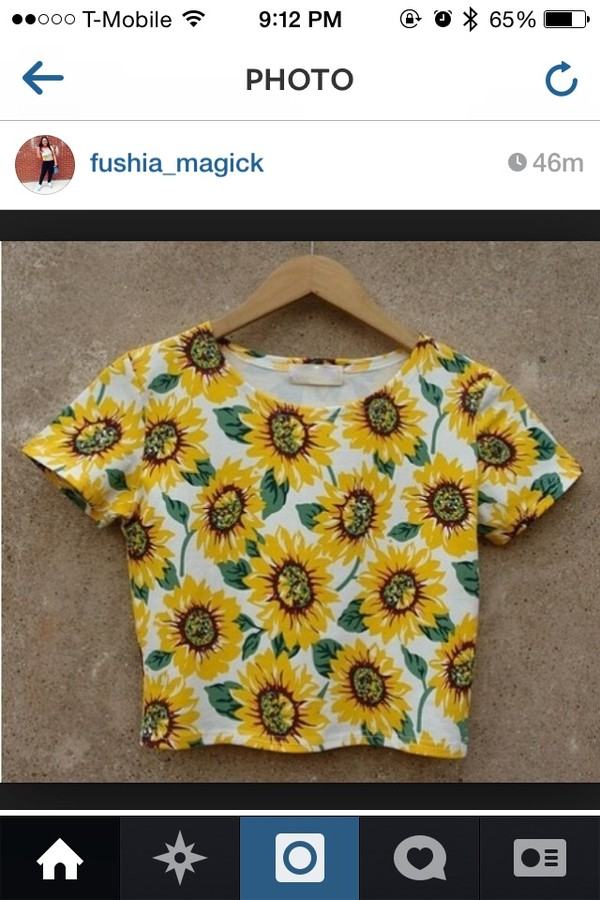shirt floral crop top sunflower shirt sunflower crop top