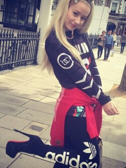 shirt white black logo pretty pants adidas jogging pants iggy azalea