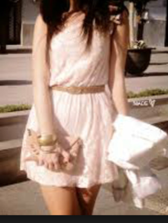 cream dress brown belt