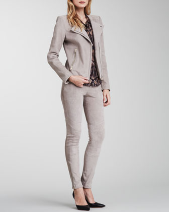 J Brand Ready to Wear Jacqueline Asymmetric Suede Jacket, Morisot Printed Sleeveless Blouse & Astrid Suede Skinny Pants - Neiman Marcus