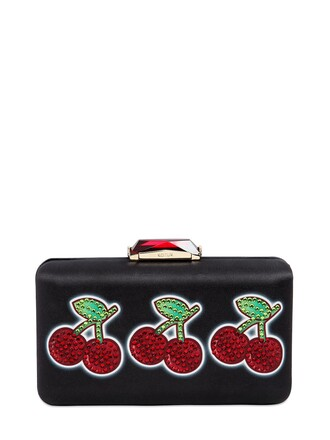 cherry clutch satin black red bag