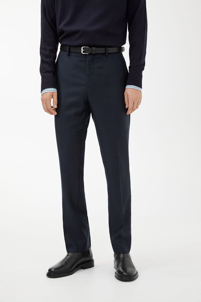 Slim Trousers Wool Panama