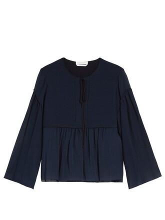 top cotton silk blue