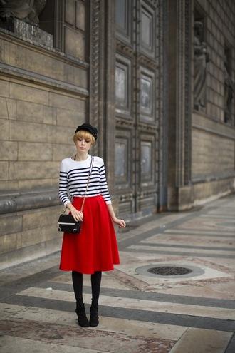miss pandora blogger bag red midi skirt striped sweater shirt skirt shoes
