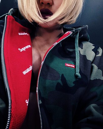 sweater supreme hoodie jacket military style camouflage