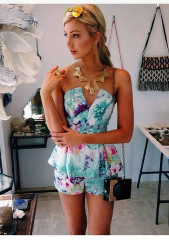romper playsuit floral floral playsuit party party outfits turquoise