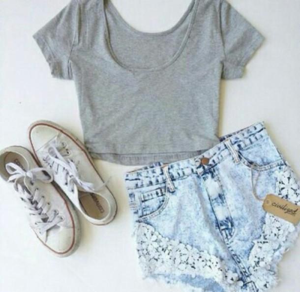 shorts acid wash lace edge shorts