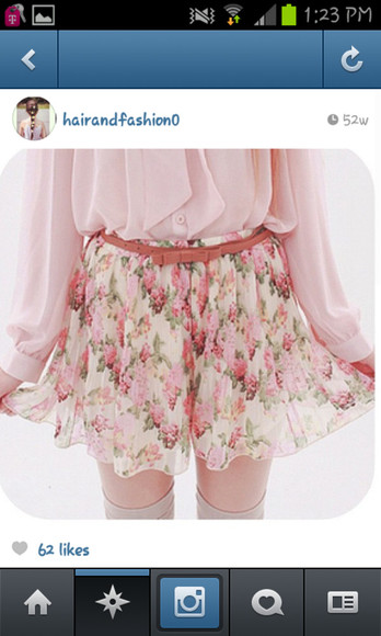 skirt floral skirt pastel pink blouse brown bow belt