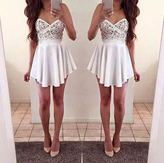 dress white sexy fashion cute girly strapless skirt