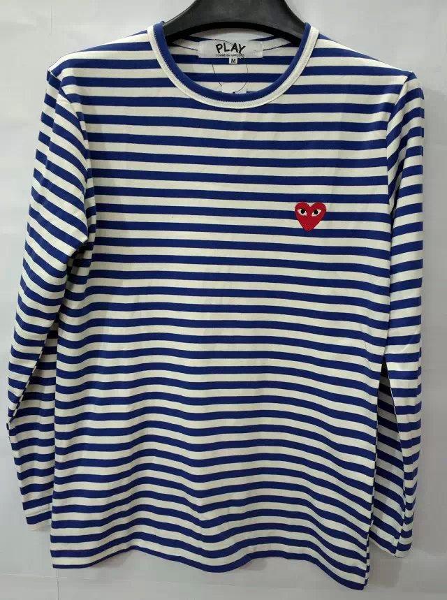 fb980242c01b New Men Women lady boy COMME DES GARCONS CDG Play Striped T shirts tees  Long Sleeve Navy ...