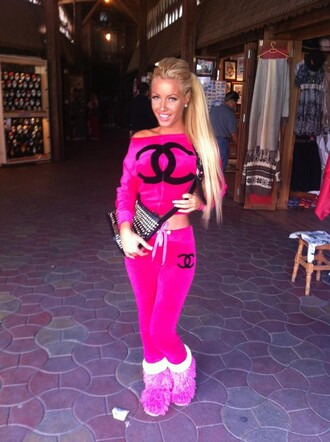 sweater chanel sweatsuit jumpsuit pink