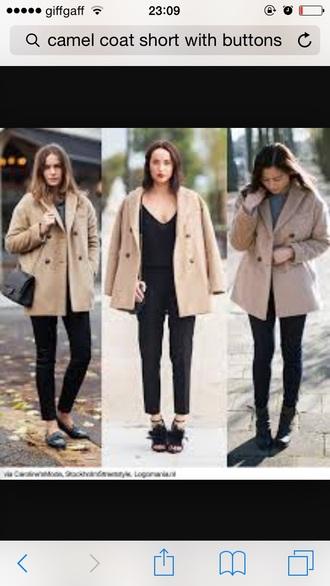 coat short coats camel coat buttons