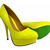 Womens Ladies Neon Court Shoes High Heels Yellow Pink Orange Green Size 3 8   eBay