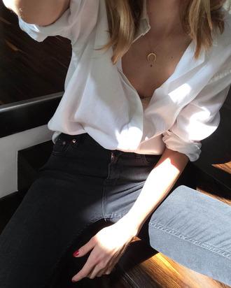 shirt tumblr white shirt necklace gold necklace denim jeans black jeans horn moon crescent crescent pendant office outfits jewels