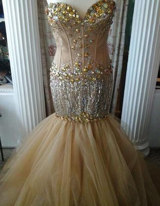 dress sherri hill prom dress fish tail mermaid beige sequins