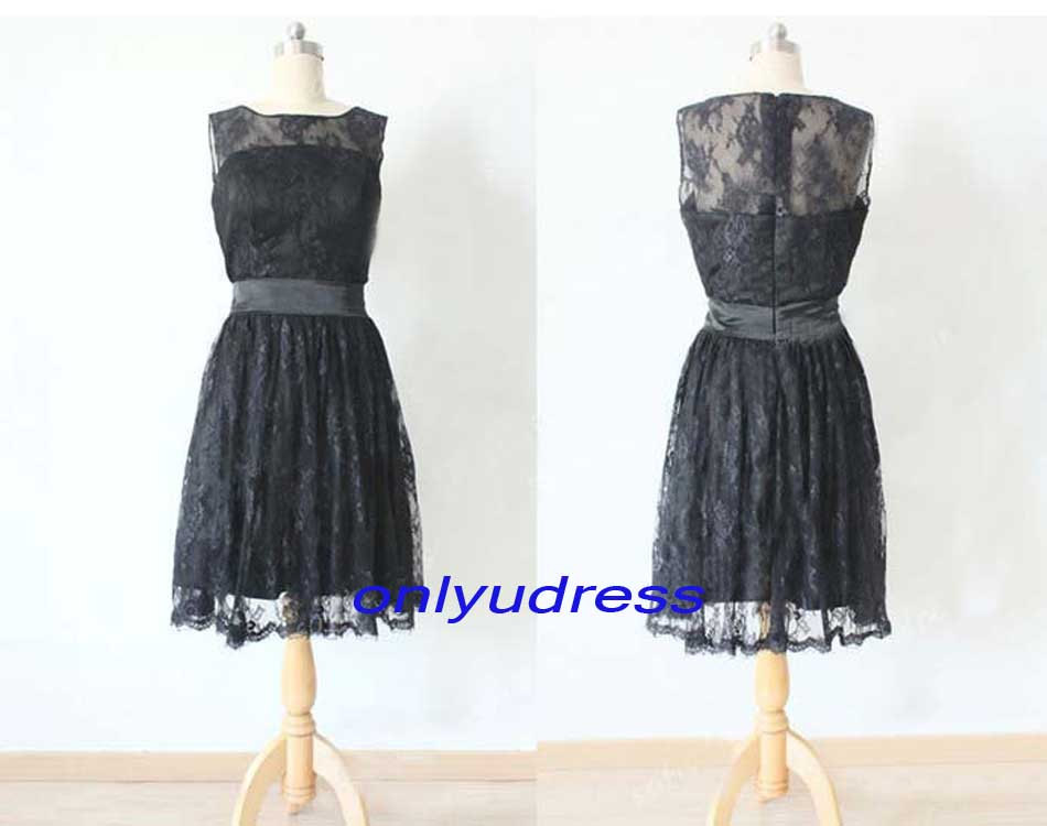 Black lace bridesmaid dresses, short lace bridesmaids dress, cheap bridesmaid gowns, illusion neck bridesmaid dresses, evening dresses 5207