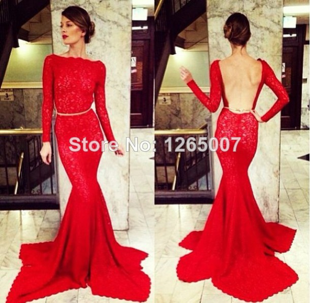 Aliexpress.com : Buy 2014 Michael Costello New Arrival Bateau Neck Long Sleeves Lace Open Back Mermaid Evening Dresses New Fashion from Reliable new jersey wedding dresses suppliers on SFBridal
