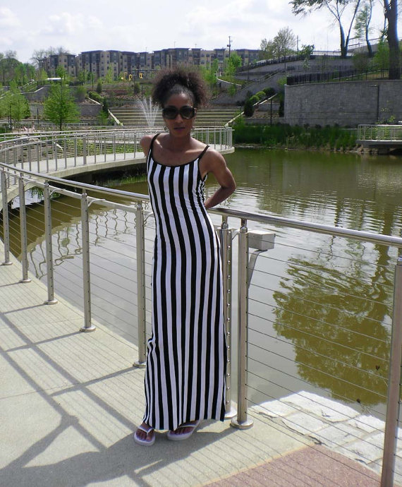 Vertical Black and White Striped Maxi Tank Dress by kalypsoblue