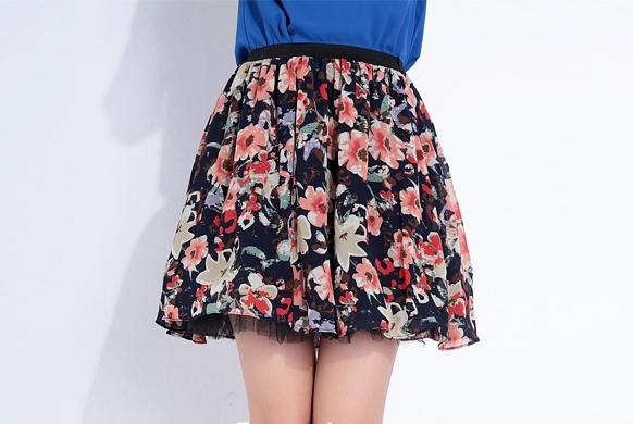 Floral print flared mini skirt short high waist
