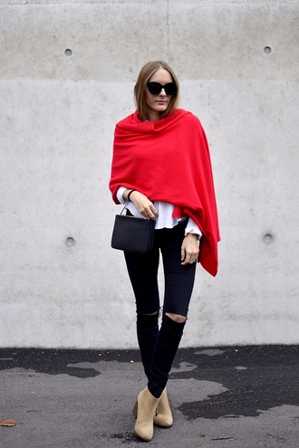 by annna blogger scarf shirt jeans shoes bag sunglasses