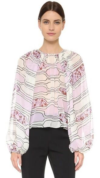 blouse long pink top