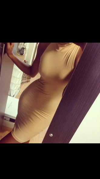 midi dress cream tan dress