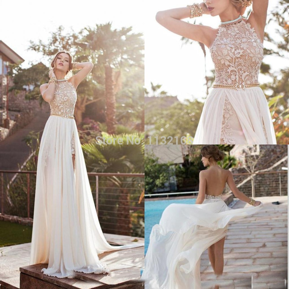 Aliexpress.com : Buy Hot new arrival Backless Chiffon high collar A line Beach wedding dresses gowns, Bridal dresses,Chiffon wedding reception dress from Reliable dress hand suppliers on Making your dreaming dress!