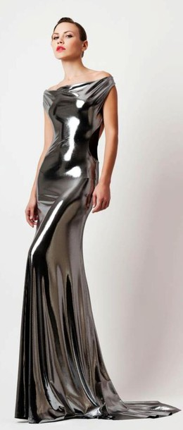 formal dress prom silver latex lace dress mermaid prom dress metallic