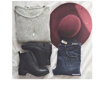 hat burgundy cozy grey sweater booties sweater ankle boots black boots shoes black leather boots leather boots chelsea boots asos topshop h&m