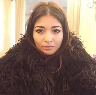 coat fur fur coat fur jacket faux fur fluffy black