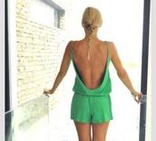 shorts,romper,green,cotton,open back,green romper,summer romper
