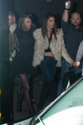 jacket taylor swift tights lily aldridge fluffy shoes