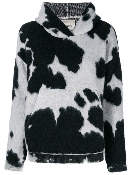 hoodie women print wool grey cow sweater