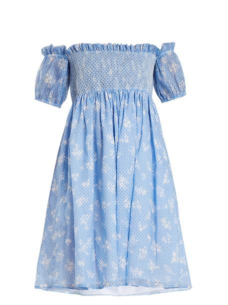 Miu Miu dress mini dress mini floral print blue