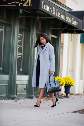 jadore-fashion blogger sweater skirt coat shoes bag grey coat handbag high heel pumps pumps
