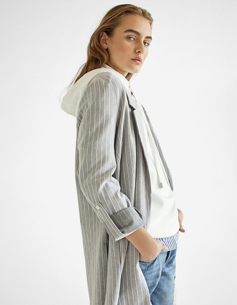 blazer knit grey jacket