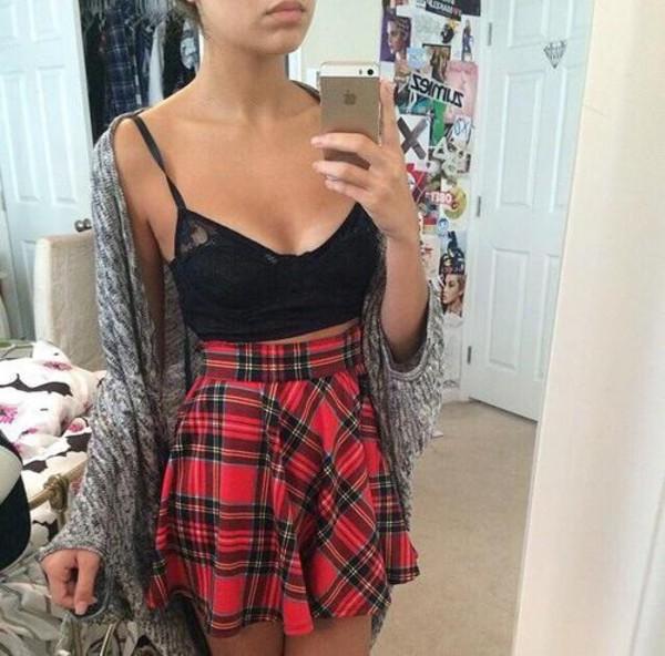 skirt tartan clothes lacy crop top cardigan