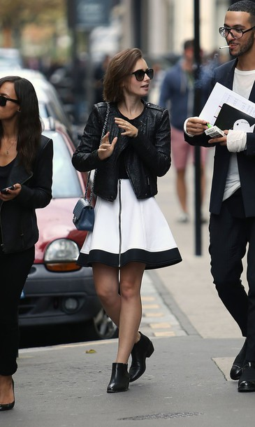 skirt lily collins fashion week 2014 streetstyle fall