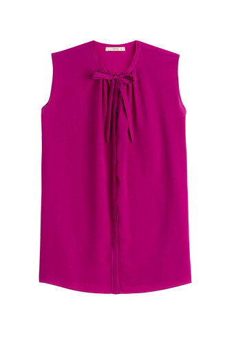 blouse sleeveless silk purple top