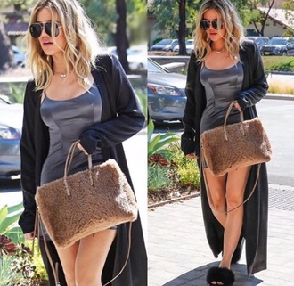 bag tan brown taupe white dress shoes cardigan khloe kardashian long cardigan slippers