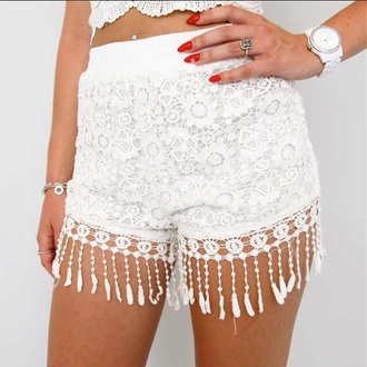 shorts short white lace lace shorts style clothes
