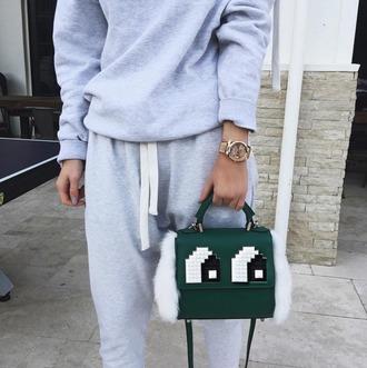 bag green bag mini bag shoulder bag eyes fur instagram mini shoulder bag jumpsuit grey sweater grey grey sweatpants green kylie jenner