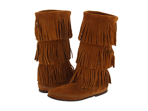 Minnetonka Calf Hi 3-Layer Fringe Boot Brown Suede - Zappos.com Free Shipping BOTH Ways